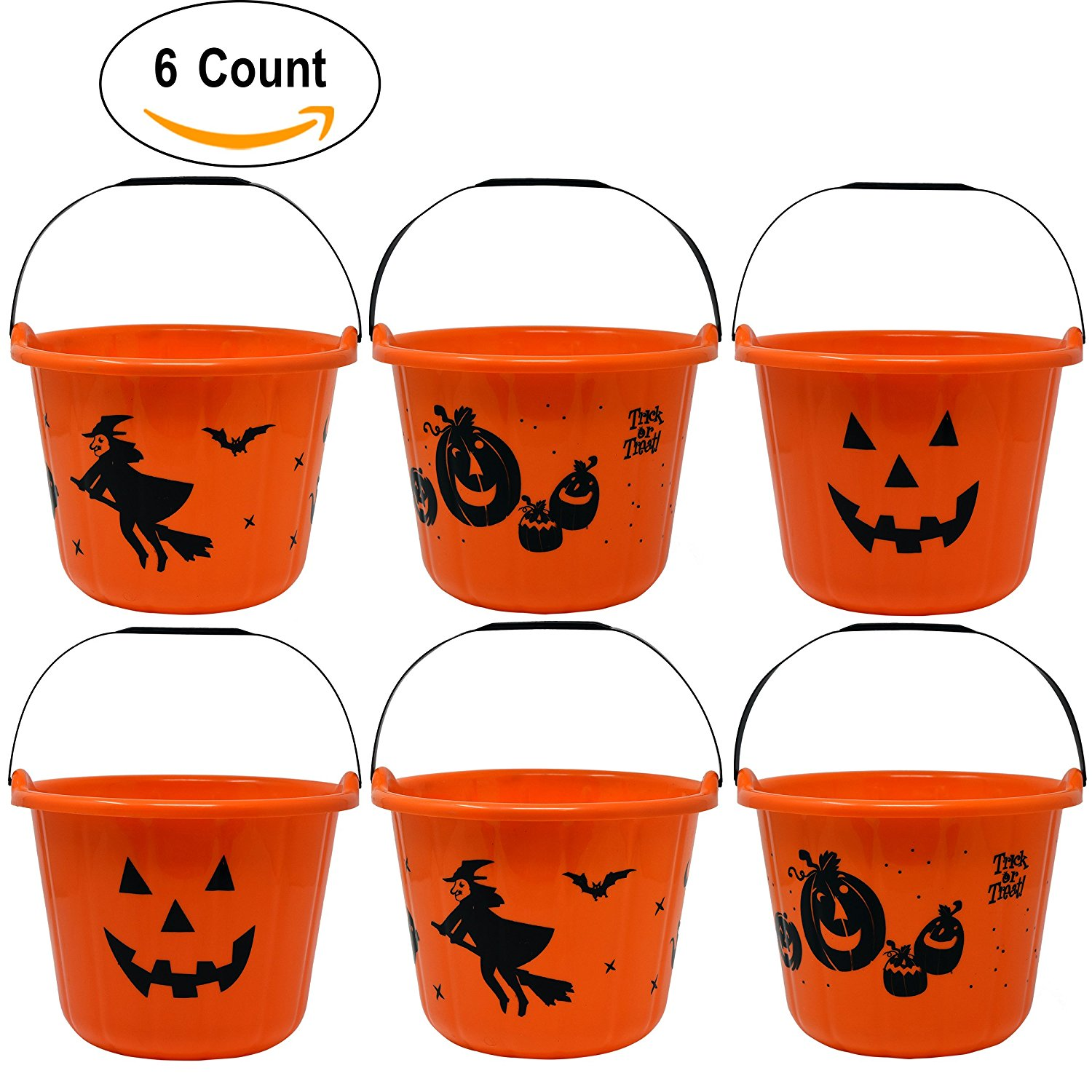 "6 Pack Halloween Candy Bucket 9"" Diameter 7"" High with Handles Large Plastic Jack O Lantern Pumpkin Trick Or Treat Pails Holder For Toys Sweet Treats Goody Favors"