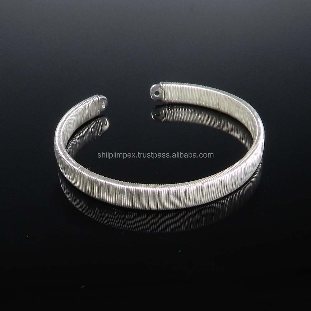 Wire Wrapped Designer 925 Sterling Silver Handmade Cuff Adjustable ...
