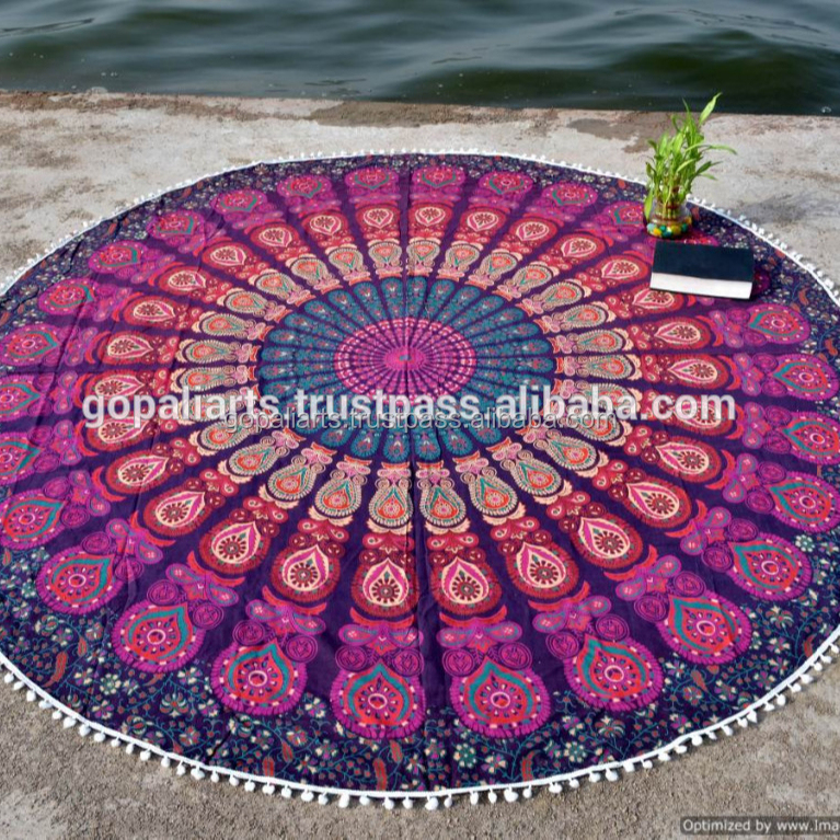 """Cotton Yoga Mat Roundie Tapestry Ethnic Indian Beach Throw Hippie Table Case 72/"""""""