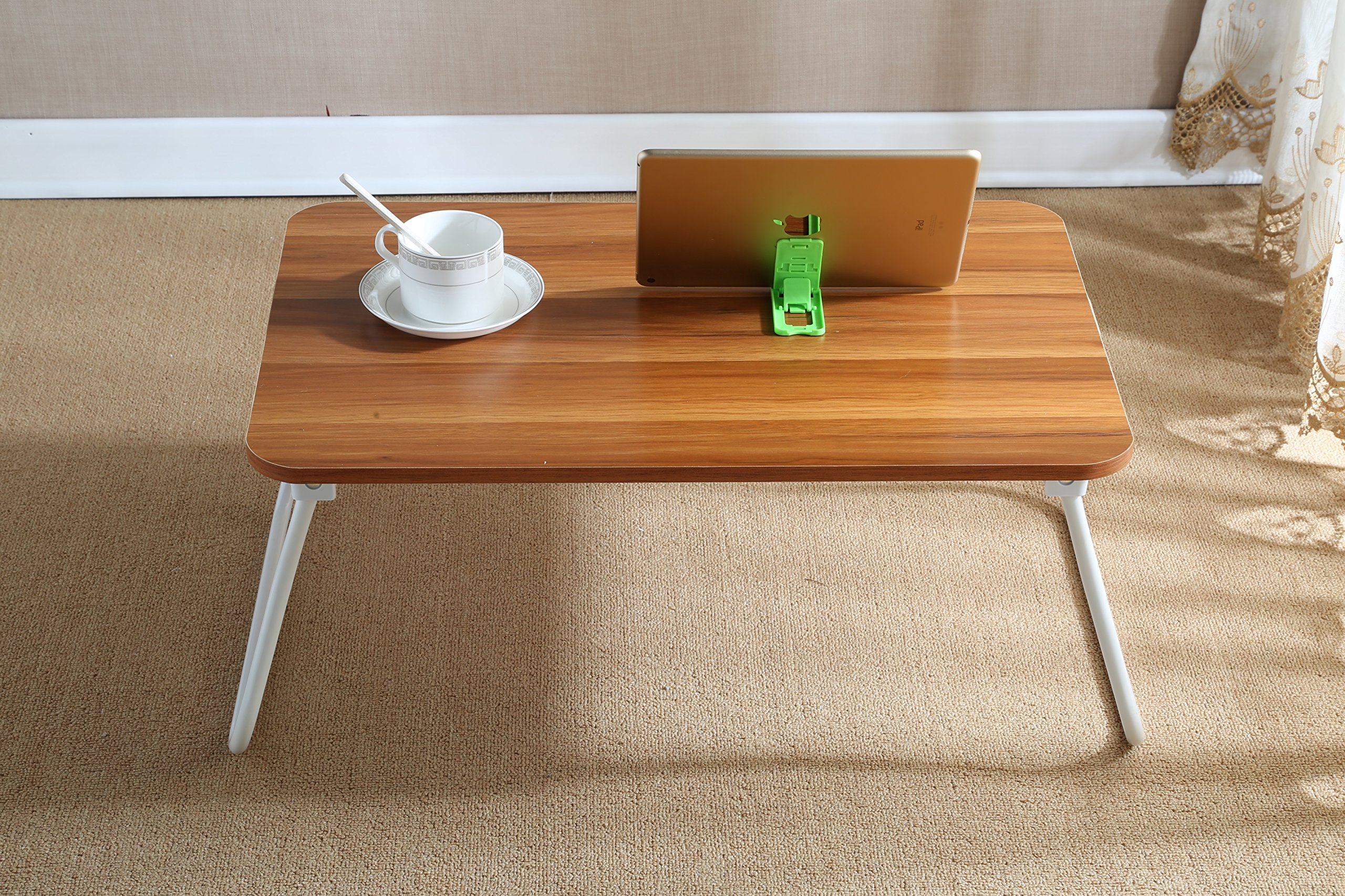 """Homebi Lap Desk Tray Table Laptop Stand Portable Bed Desk Breakfast Tray for Bed Couch and Sofa with MDF Top Board and Foldable Metal Legs (11.20""""H, Walnut)"""