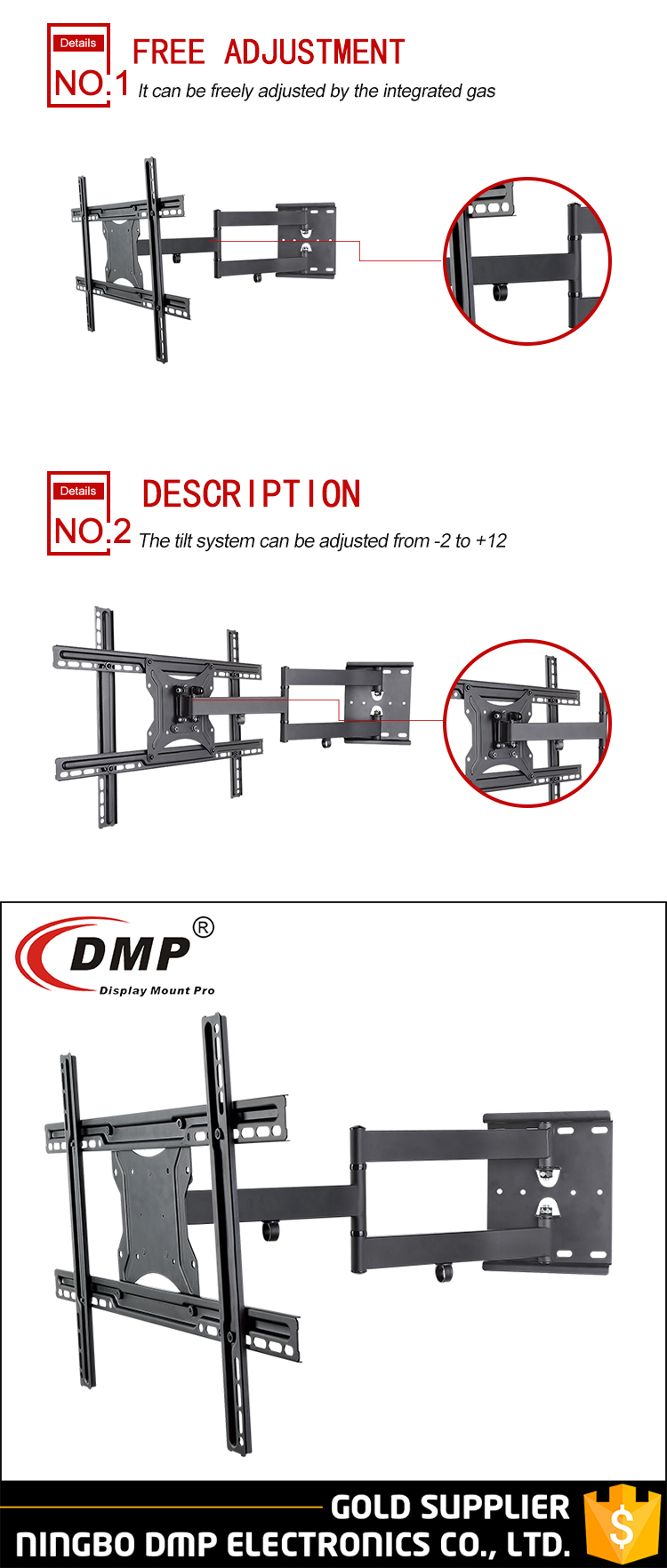 "NPLB136L-SW Single Extension Arm 602.5mm Articulating VESA 600x400 TV Wall Mount Bracket For 32-65"" LCD LED TV"