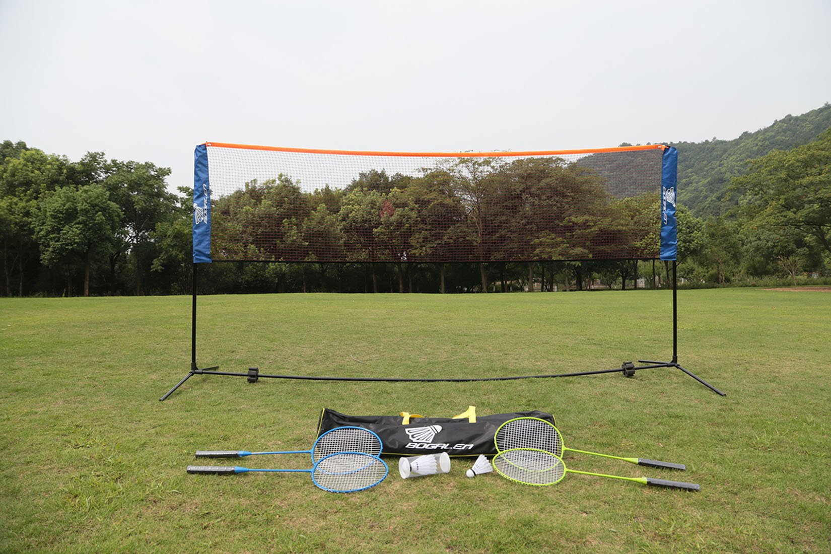 Bogalen Height Adjustable Badminton, Tennis, or Volleyball Portable Net Stand for Family Outdoor Games