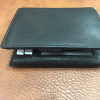 Vintage Black Themes Bifold Leather Card Holder Wallet for Men's with Transparent ID Window