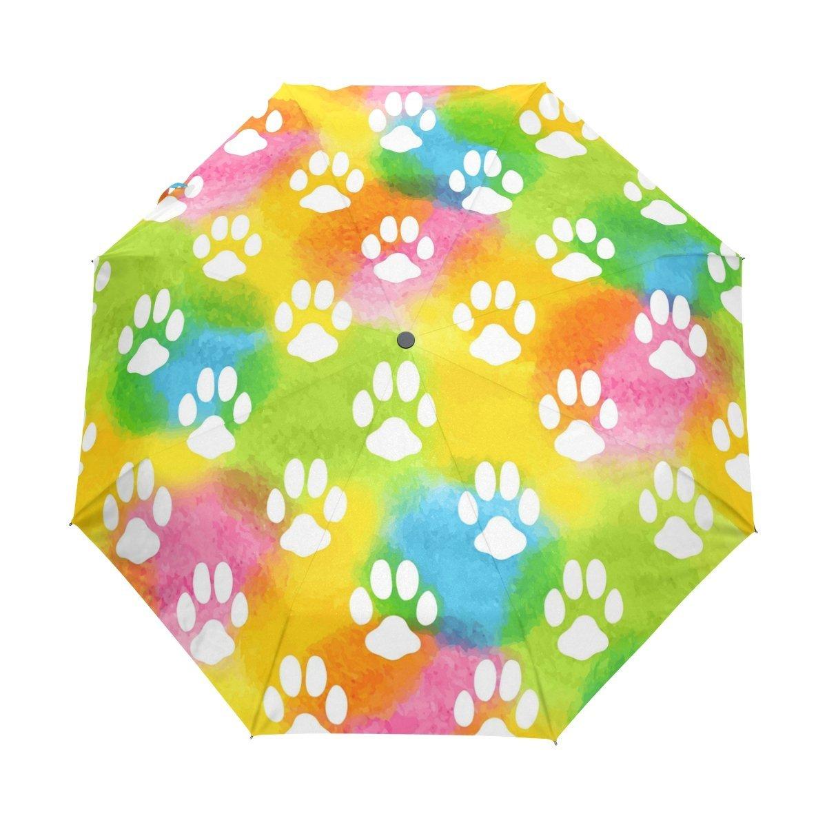 WOZO Watercolor Footprint Dog Paw 3 Folds Auto Open Close Umbrella
