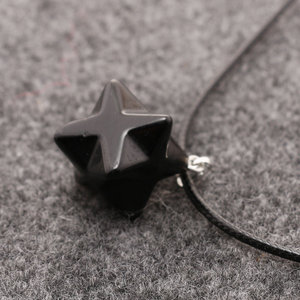 Obsidian stone Natural Crystal Quartz Octagonal Merkaba Star Pendants with chain REKI healing stone necklace