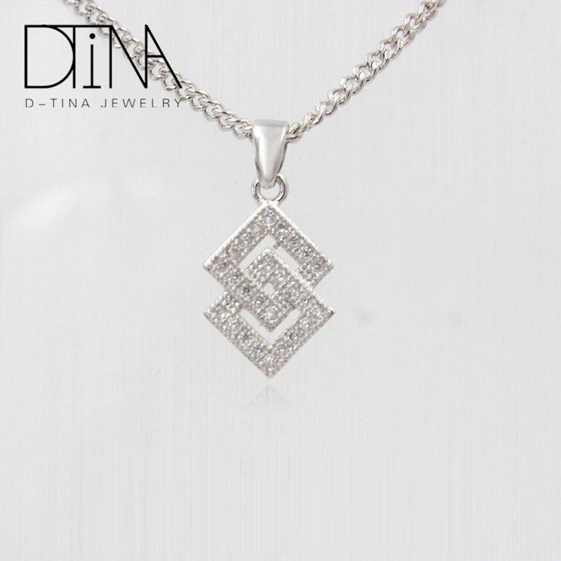 d42317a46e58 DTINA de moda chapado en oro blanco anillo Vintage geométrica collar moderno