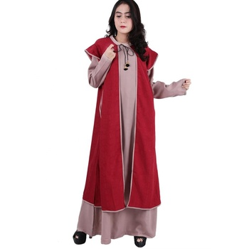 High Quality New Two-Pieces Clothes Double layer Not Transparent Muslim Women Dress Islamic