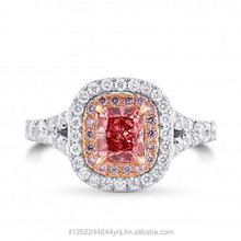 Fancy Deep Pink Diamond Ring White & Rose Gold With Round Diamonds 0.79 Ct GIA Certificate