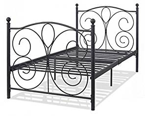 "SKB family 83"" x 43"" x 42"" Black powder finish Twin Size solid Steel Bed Frame Metal Artistic Headboard durable Black powder finish"