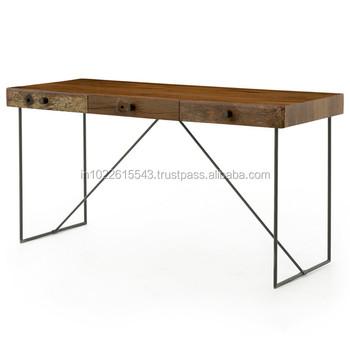 Industrial Furniture Wood Metal Working Table,Metal Wood Desk Office Table  - Buy Industrial Reclaimed Wood Furniture,Antique Wood Office Desk ...