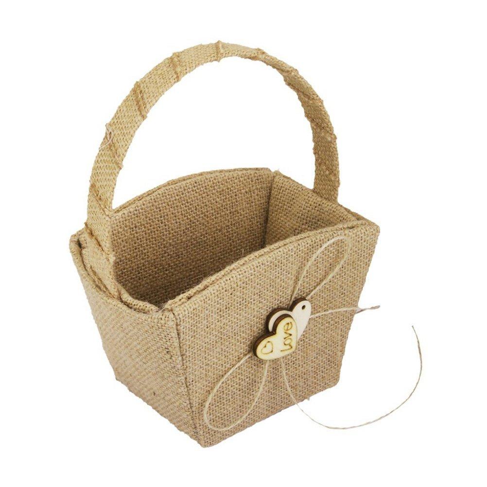Tinksky Vintage Wedding Burlap Hessian Flower Girl Basket Wooden Heart