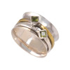 Hammered solid brass Silver Peridot Ring