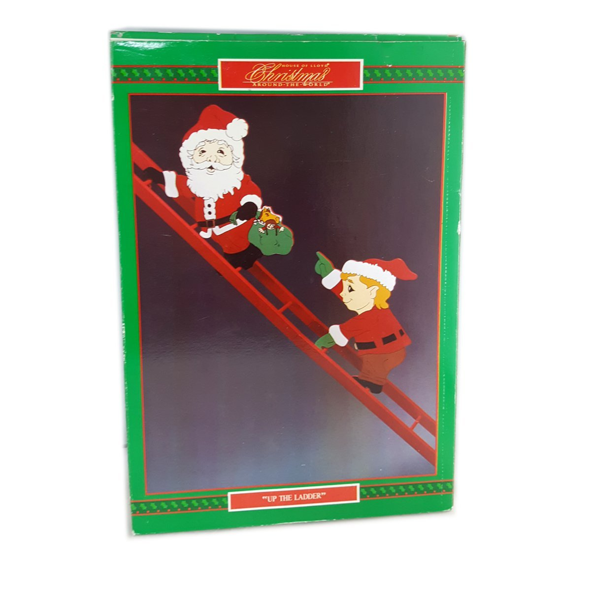 vintage 1991 christmas around the world house of lloyd up the ladder climbing santa elf - Christmas Around The World House Of Lloyd