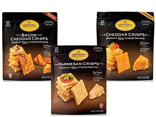 Sonoma Creamery Cheese Crisps Variety Pack, Parmesan, Cheddar, Bacon Cheddar, 10 Ounce, 3 Count