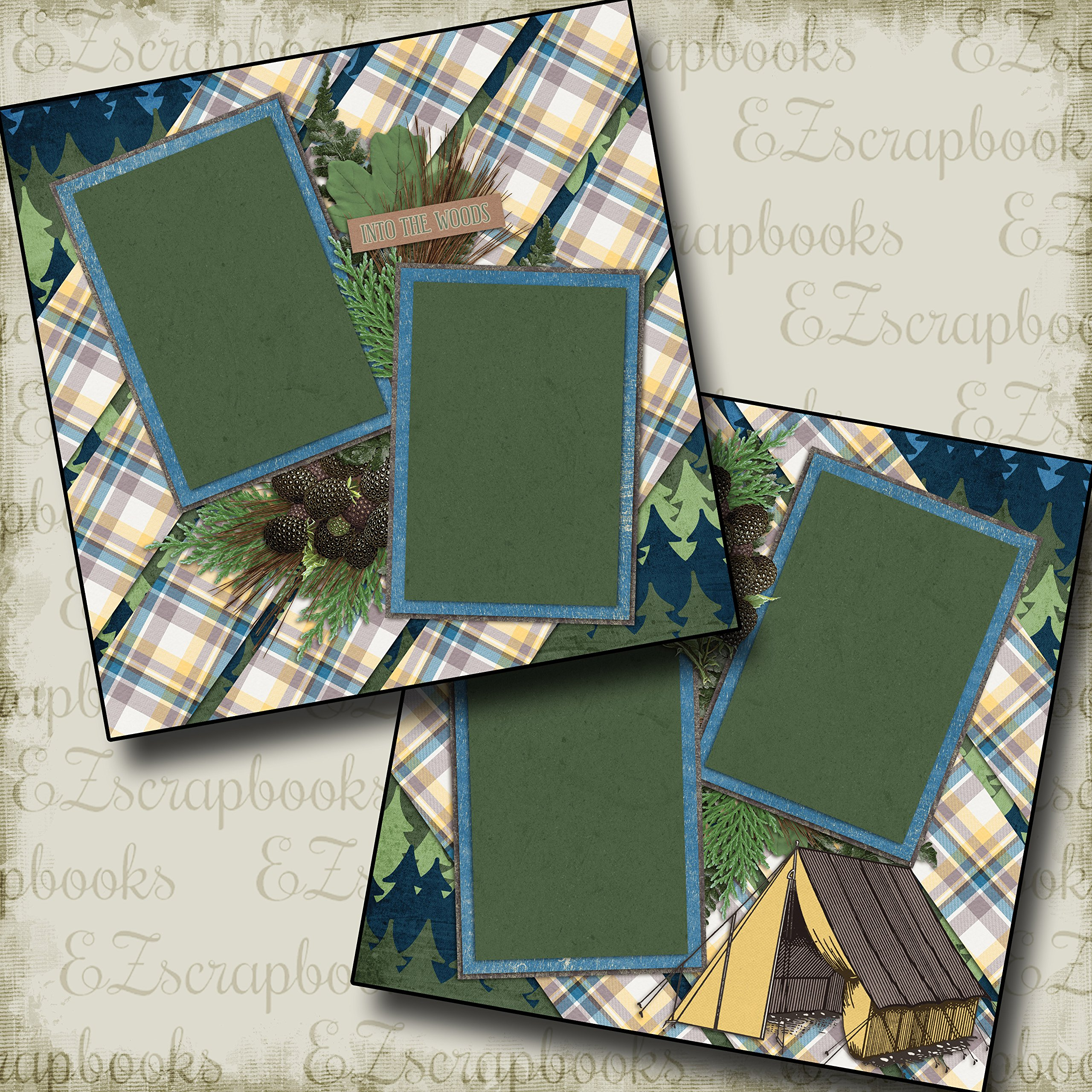 INTO THE WOODS - Premade Scrapbook Pages - EZ Layout 2080