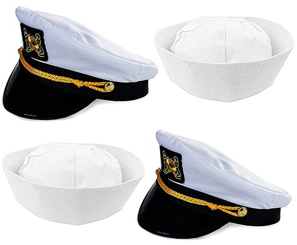 7ff25df6b6550 Get Quotations · Adult Captain s Yacht Hat and White Cotton Sailor Hat-Funny  Party Hats