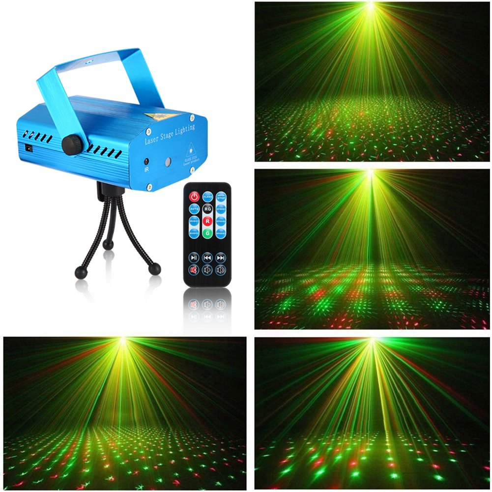 Litake LED Projector Laser Lights, Mini Sound Activated Auto Flash Stage Lights for Disco DJ Club Bar Party Wedding Show Strobe Light with Remote Control