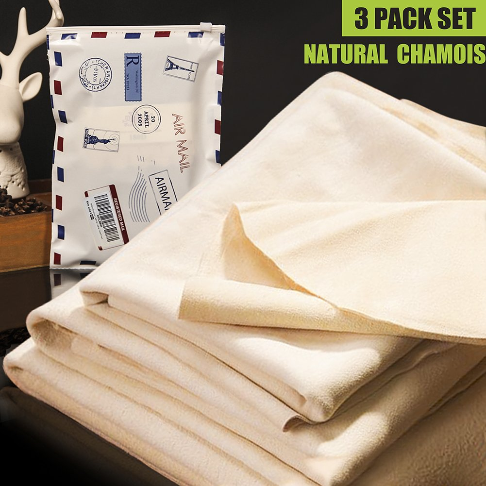 (3 PACK) Car Natural Chamois Cleaning Cloth, RIVERLAKE Genuine Deerskin Leather Auto Car Wash Drying Towel,Super Absorbent,3 Available Sizes.L/M/S 3IN1