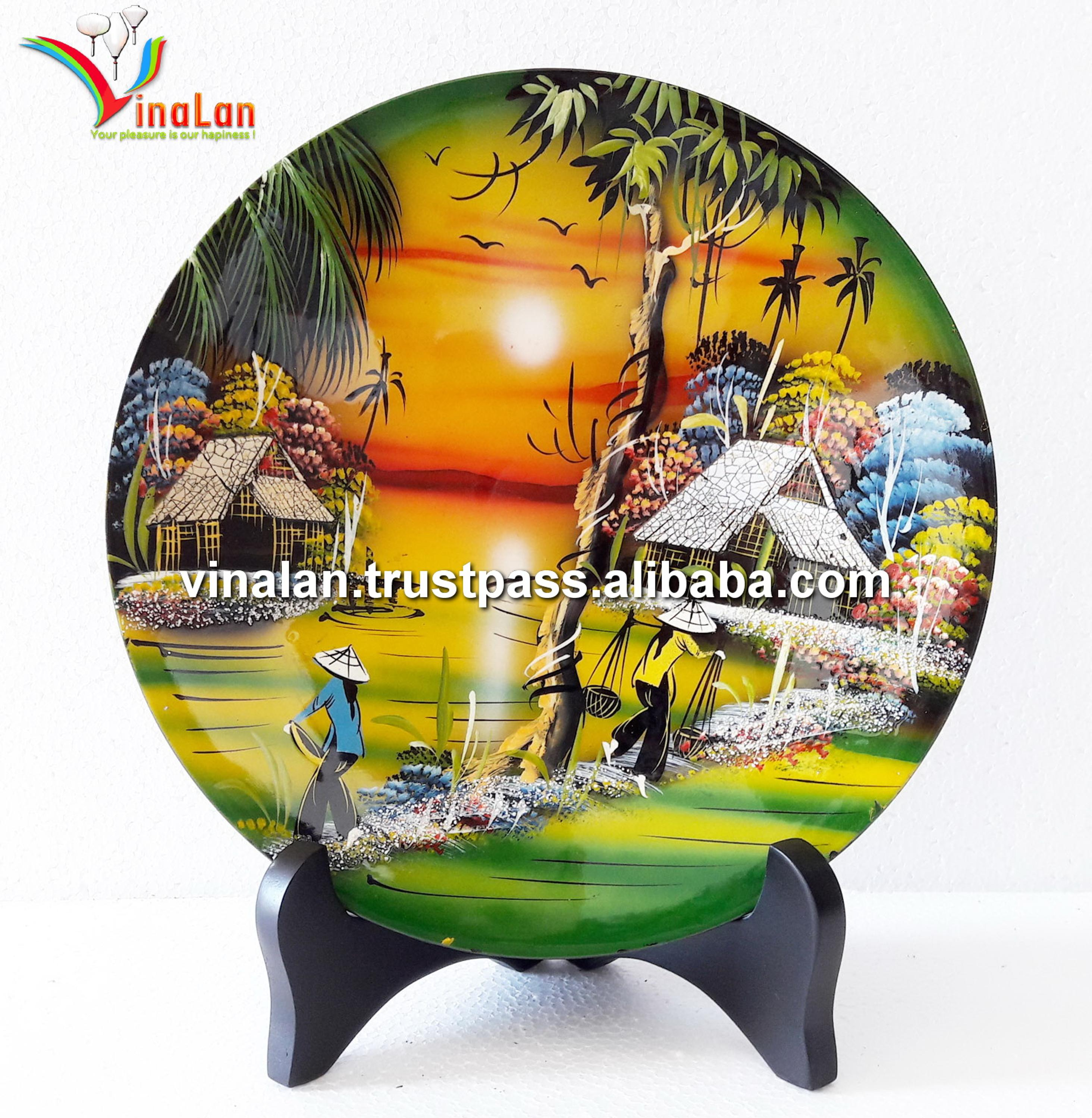 Vietnam Art Lacquer Dish,Countryside Landscape,Wall Hanging,Desk ...