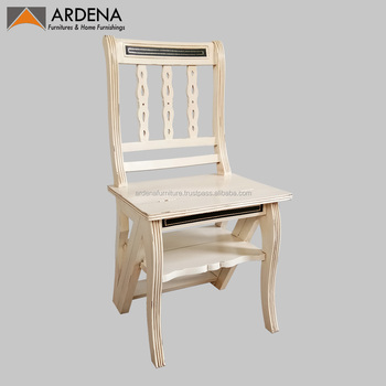 Classic Appearance Wooden Ladder Chair Library Ladder Chair For Home Office  Furniture