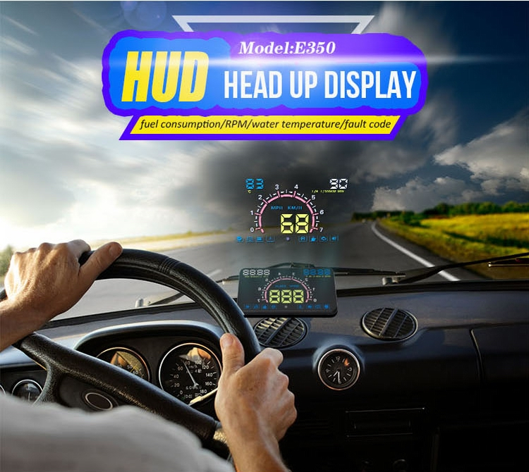 E350 OBD2 car display hud projector 5.8 inch screen E350 Easy Plug and Play Overspeed Alarm With High Quality HUD display