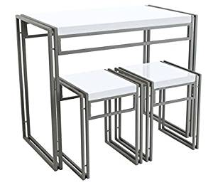 Modern Urban Small Dining Table Set, Perfect For Kitchen Dining Table/ Home Tea Table/ Dorm Table/ Office Table/ Living Room Table - 3-Pieces Dining Furniture Set