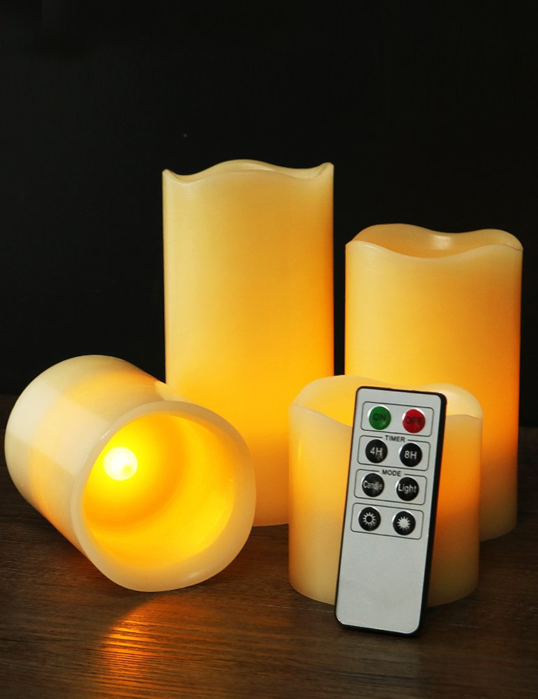 "HOME MOST Set of 4 REAL WAX Ivory Flameless Pillar Candles with Remote (WAVY EDGE, 3""/4""/5""/6"" Tall) - LED Flameless Flickering Candles with Remote and Timer - Wedding Candles Set Ivory Candles Bulk"