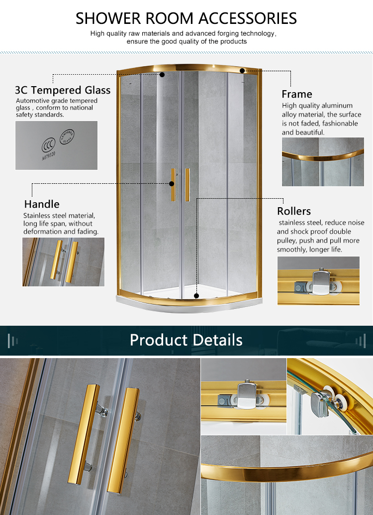Luxury Cuver แก้วกรอบกระจกนิรภัย Slding ประตู SS Roller Gold Shower Enclosure