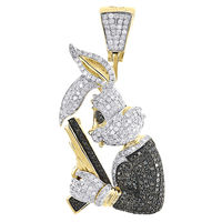 Black Diamond Bunny Pendant Men's 14k Yellow Gold Round Pave Gun