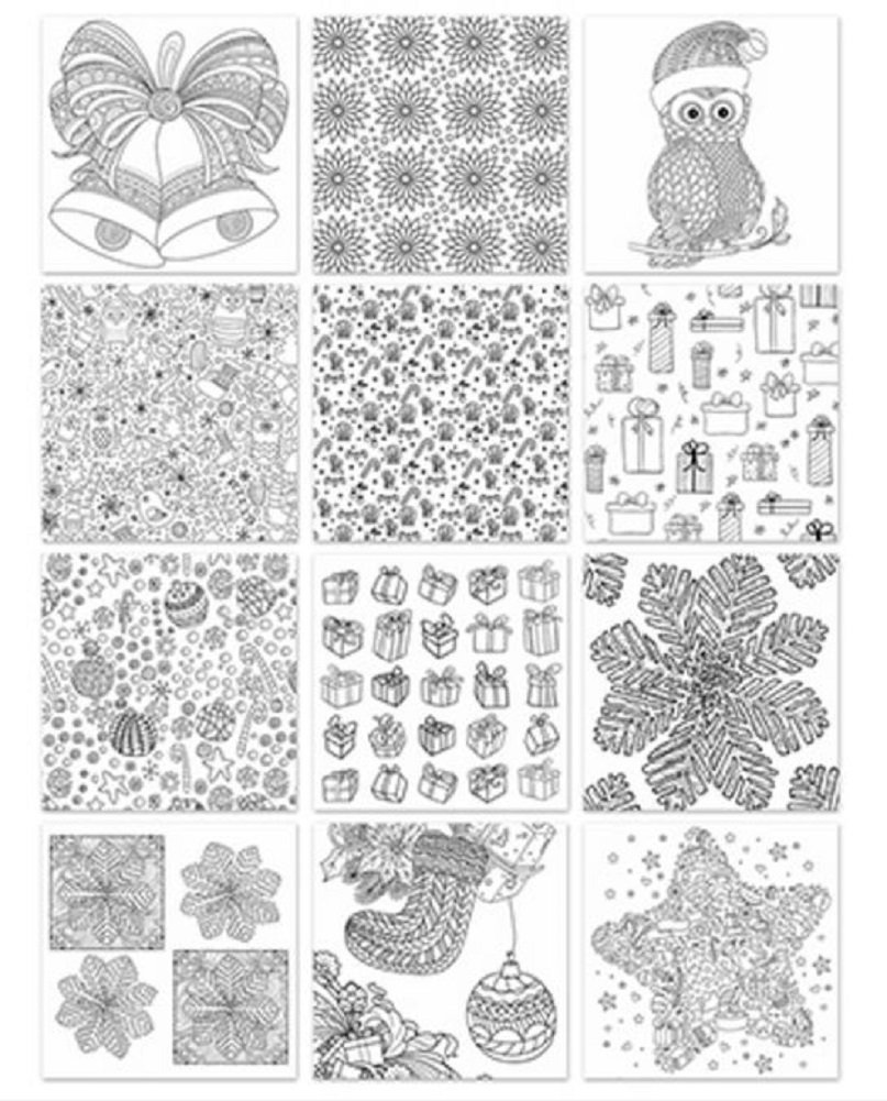 """Adult and Teen Coloring Book 6"""" x 6"""" Holiday Theme Paper Pad Card Making"""