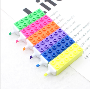 novelty Building Block Toy Brick Highlighter Colored Marker Pen for kids school supplies highlighter pen multi colored