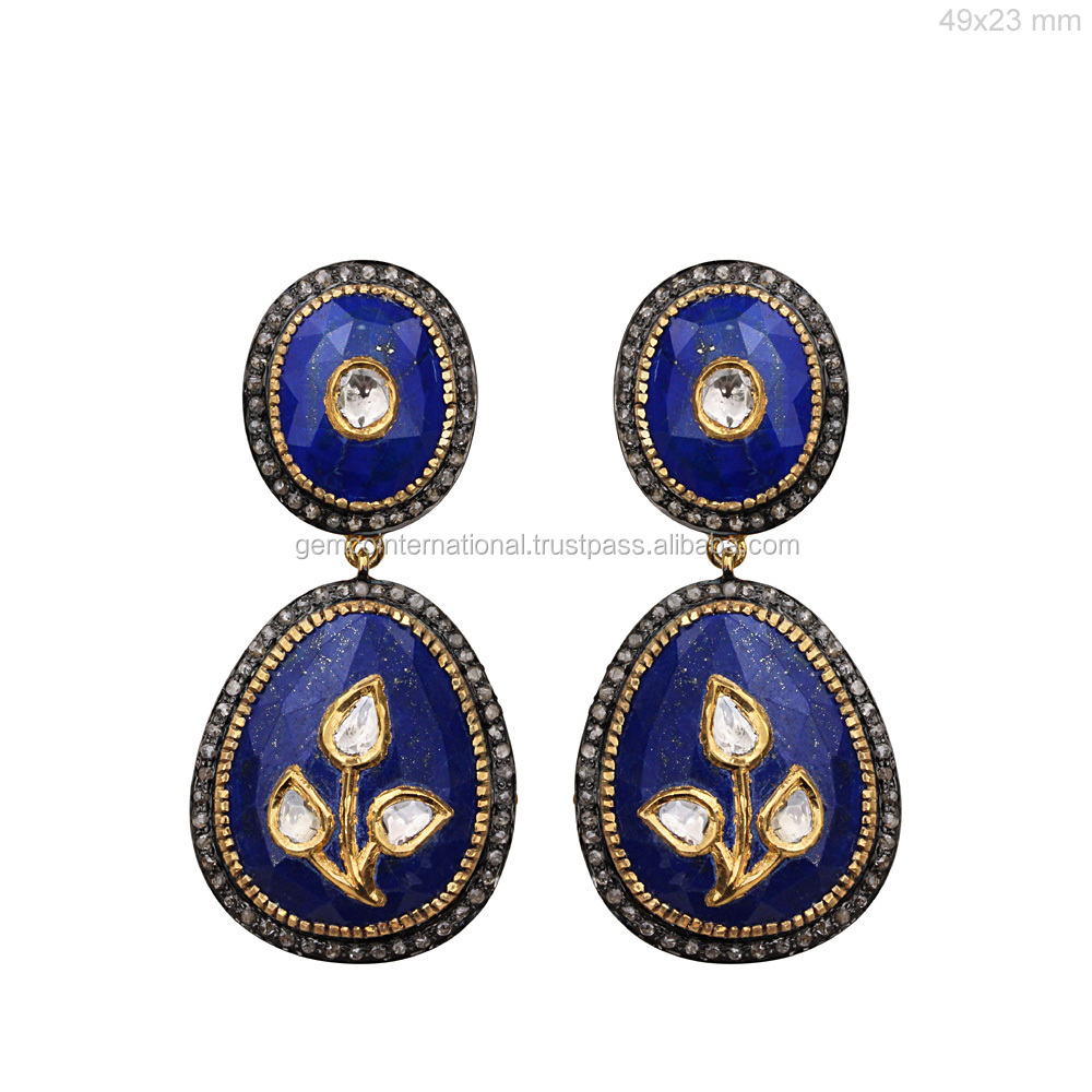 Diamond Gemstone Jewelry 925 Silver Lapis Earrings