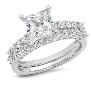 Wedding Wear 0 80tcw Real Princess And Round Diamond Ring Set 14k