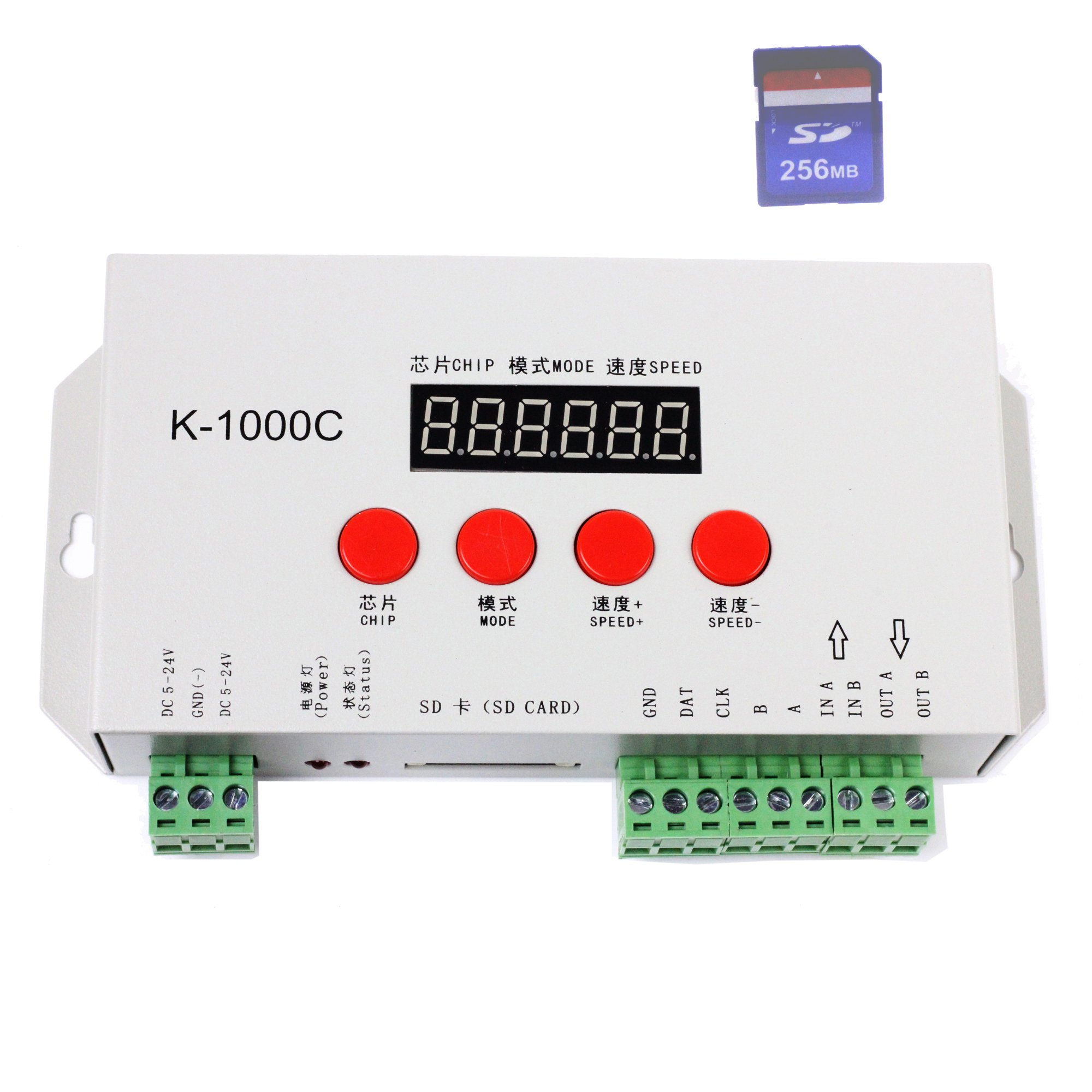 INVOLT K-1000C SD Card WS2812B LED Controller, T-1000S upgraded version, compatible with WS2812B APA102 SK6812 WS2811 WS2801 Addressable Programmable LED Strip, DC5-24V, support max. 2048 Pixels
