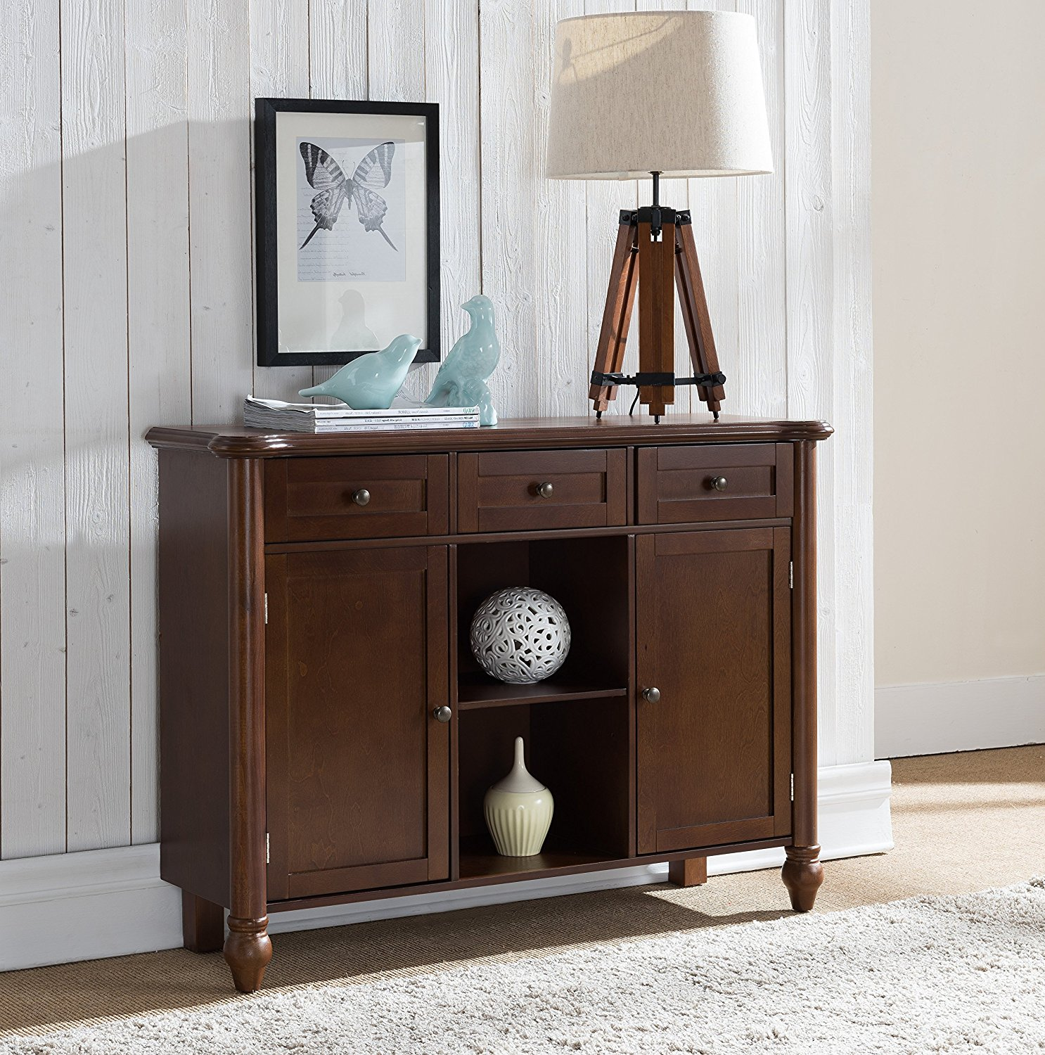 Walnut Wood Sideboard Buffet Console Display Table with Storage Drawers, Cabinet Doors & Shelves