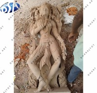 pink sandstone polished standing lady statue sculpture