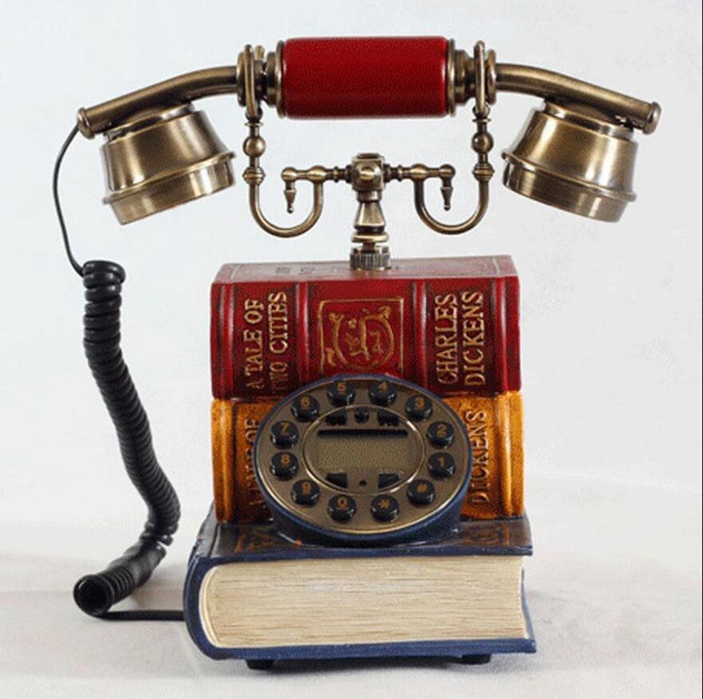 European Antique Phone, Creative Antique Style Book-Shaped Home Phone