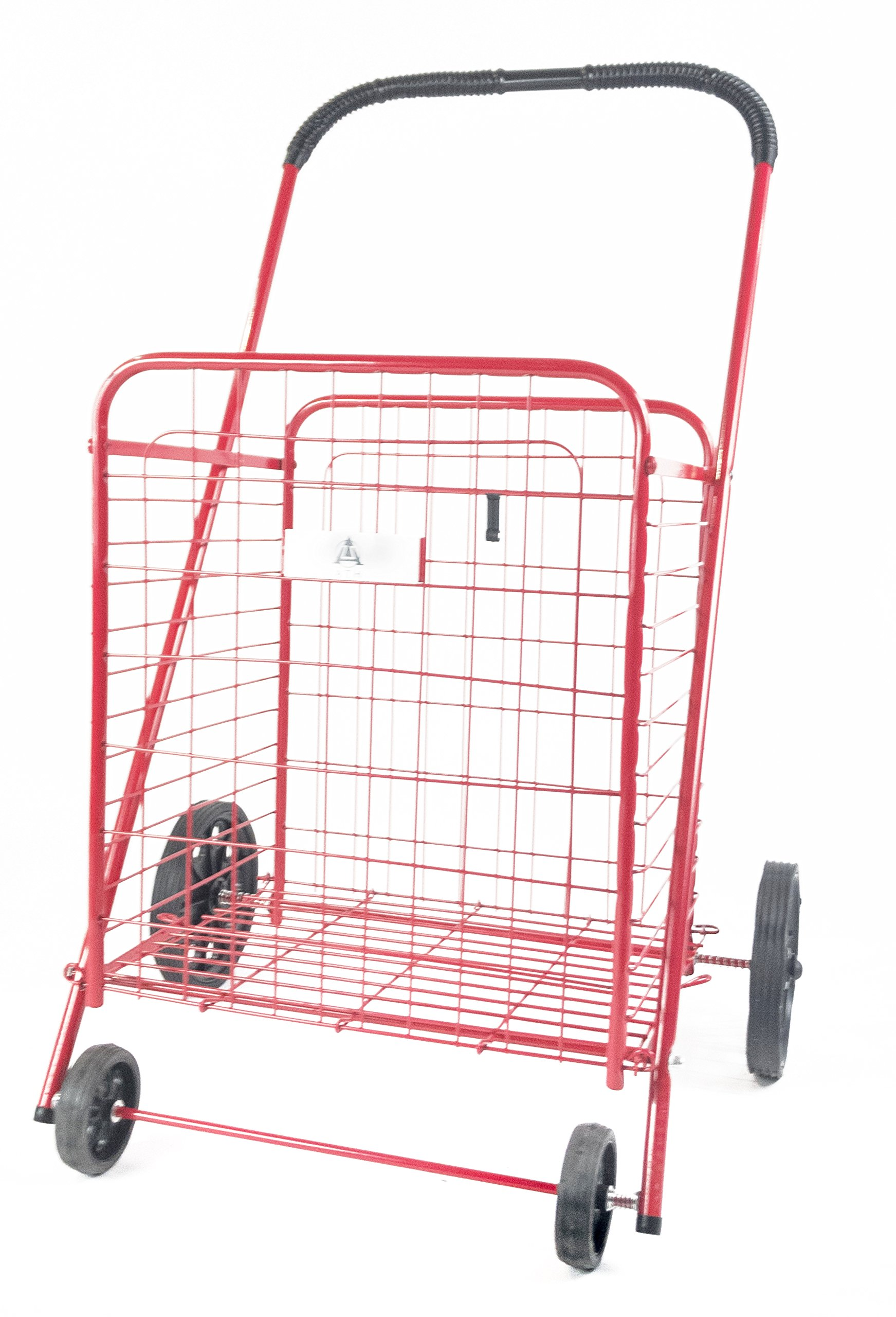 ATH Medium Deluxe Rolling Utility / Shopping Cart - Stowable Folding Heavy Duty Cart with Rubber Wheels For Haul Laundry, Groceries, Toys, Sports Equipment, Red