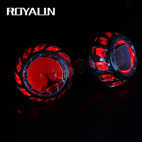 ROYALIN Head Light Projector Lens 3.0 inch Turbine Angel Eyes LED DRL Bi Xenon Lenses For H1 H4 H7 Auto Head Lamps