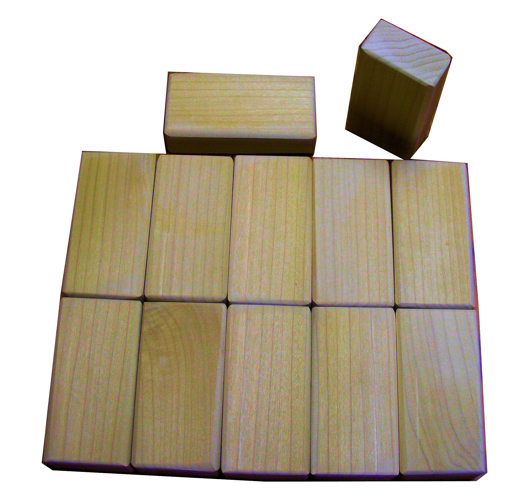 12 Piece Wood Block Set - Math and Motor Skill Development Blocks - Size 4 x 2 x 1 Inches