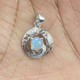 Natural Rainbow Fire Luster Opal White Cz 925 Sterling Silver Gemstone Pendant