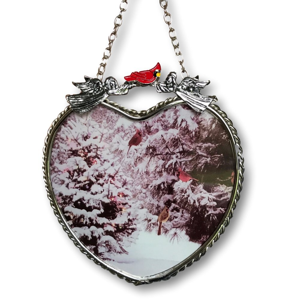 BANBERRY DESIGNS Cardinals Suncatcher - Glass Heart Sun Catcher with Cardinals and Pine Trees - Hanging Heart Window