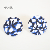 African print cotton fabric stud earrings handmade ankara statement jewelry wholesale round fabric button earrings for women hot