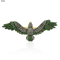 Handmade Tsavorite Diamond 925 Sterling Silver Flying Bird Brooch/Pendant