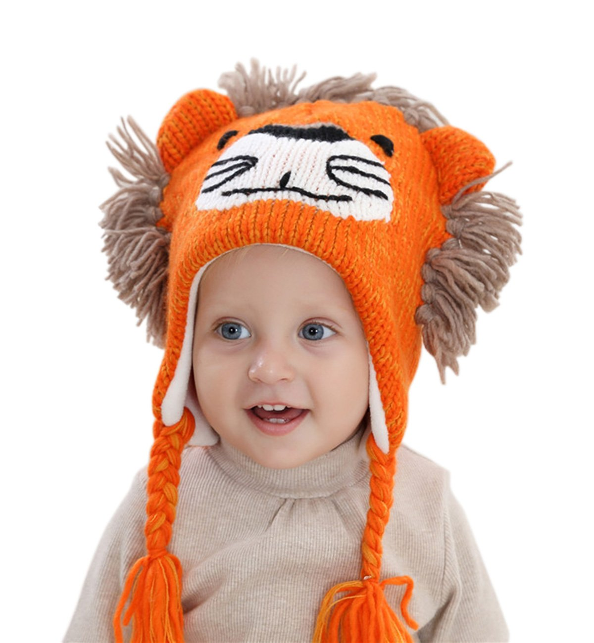 eeb4bbd1420 Get Quotations · SUMOLUX Boys Winter Earflap Beanie Hat Knitted Animal face Lion  Hats for 1-6T