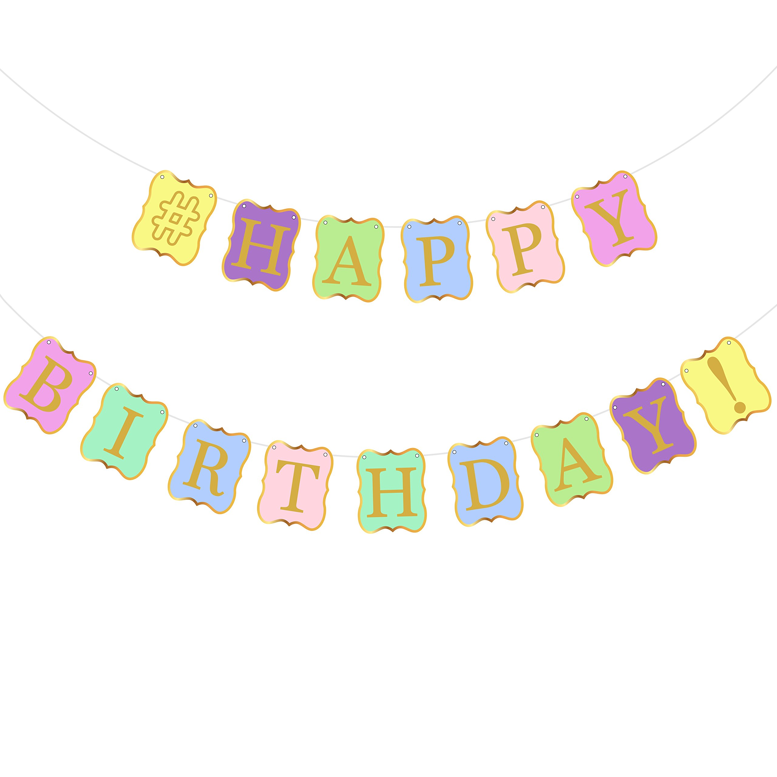 Get Quotations Pastel Colors Happy Birthday Banner