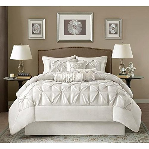 7 Piece White Pinch Pleated Diamond Tufted Comforter Cal King Set, For Master Luxury Bedrooms, Stylish High-End Geometric Textured Pinch Puckered Design, Reverse Bedding, Vivid Solid Color, Unisex