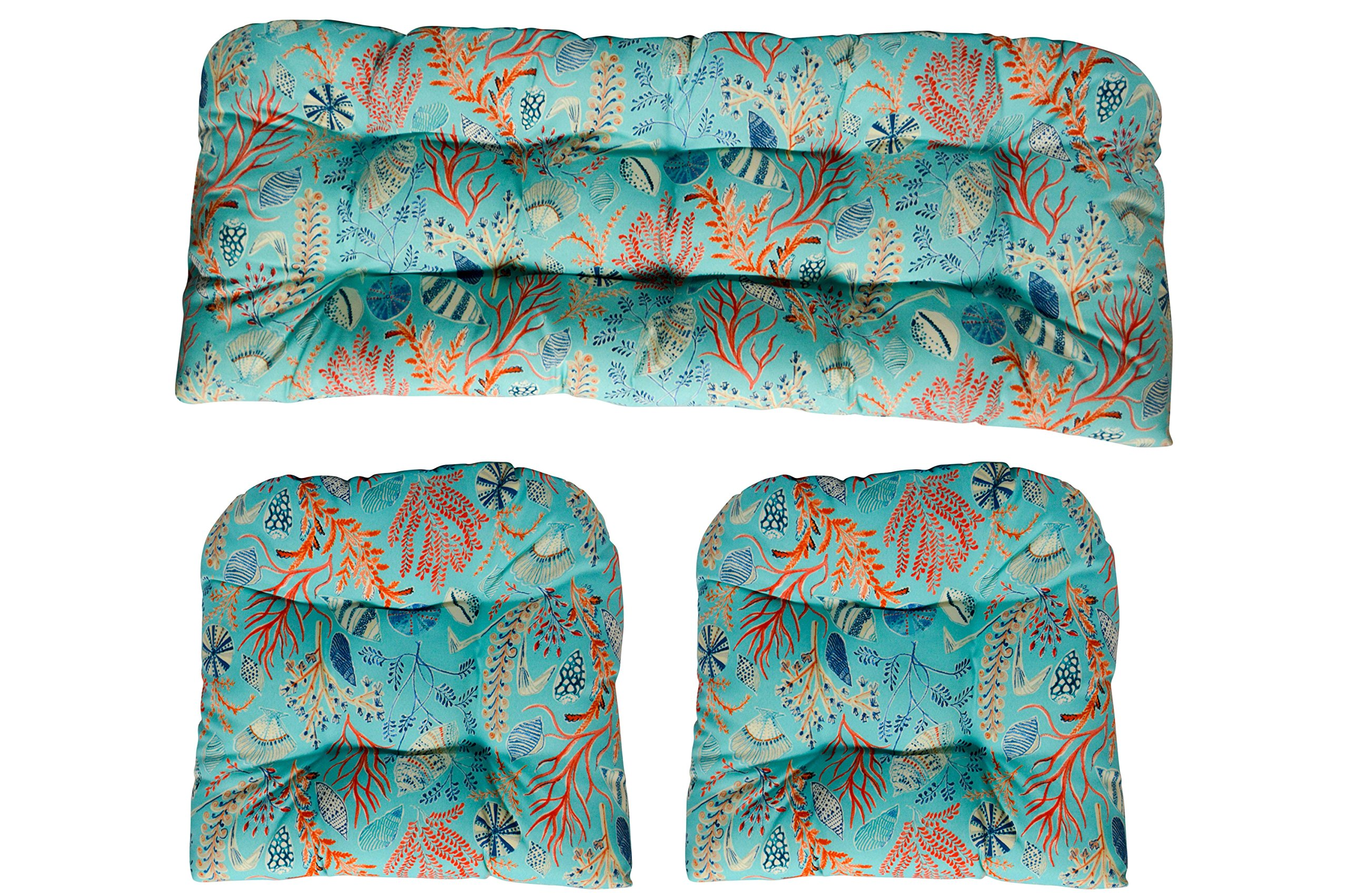 Red ~ Ocean Life ~ Coastal ~ Coral Reef Wicker Love Seat Settee Tufted Cushion ~ Blue Cream Orange Coral RSH Decor Indoor Outdoor LARGE 22 x 44 Peach White