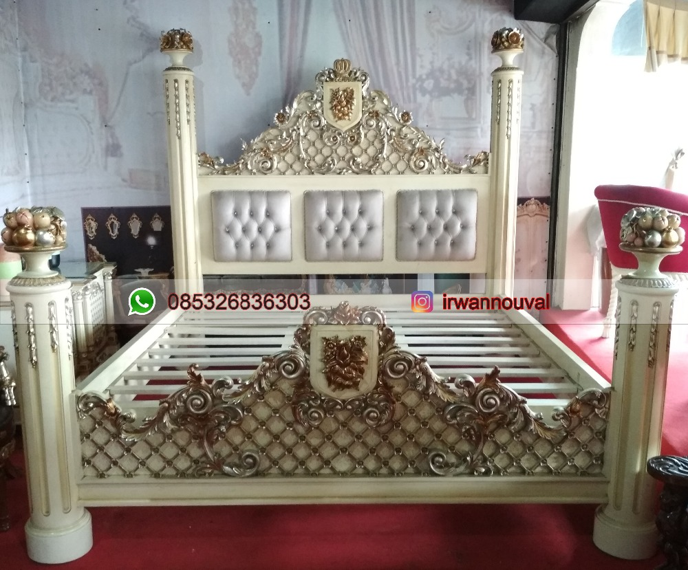 Classic style fantasy king size bed palace gold leaf resplendent furniture