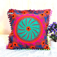 ethnic embroidery cotton cushion cover 16x16cm